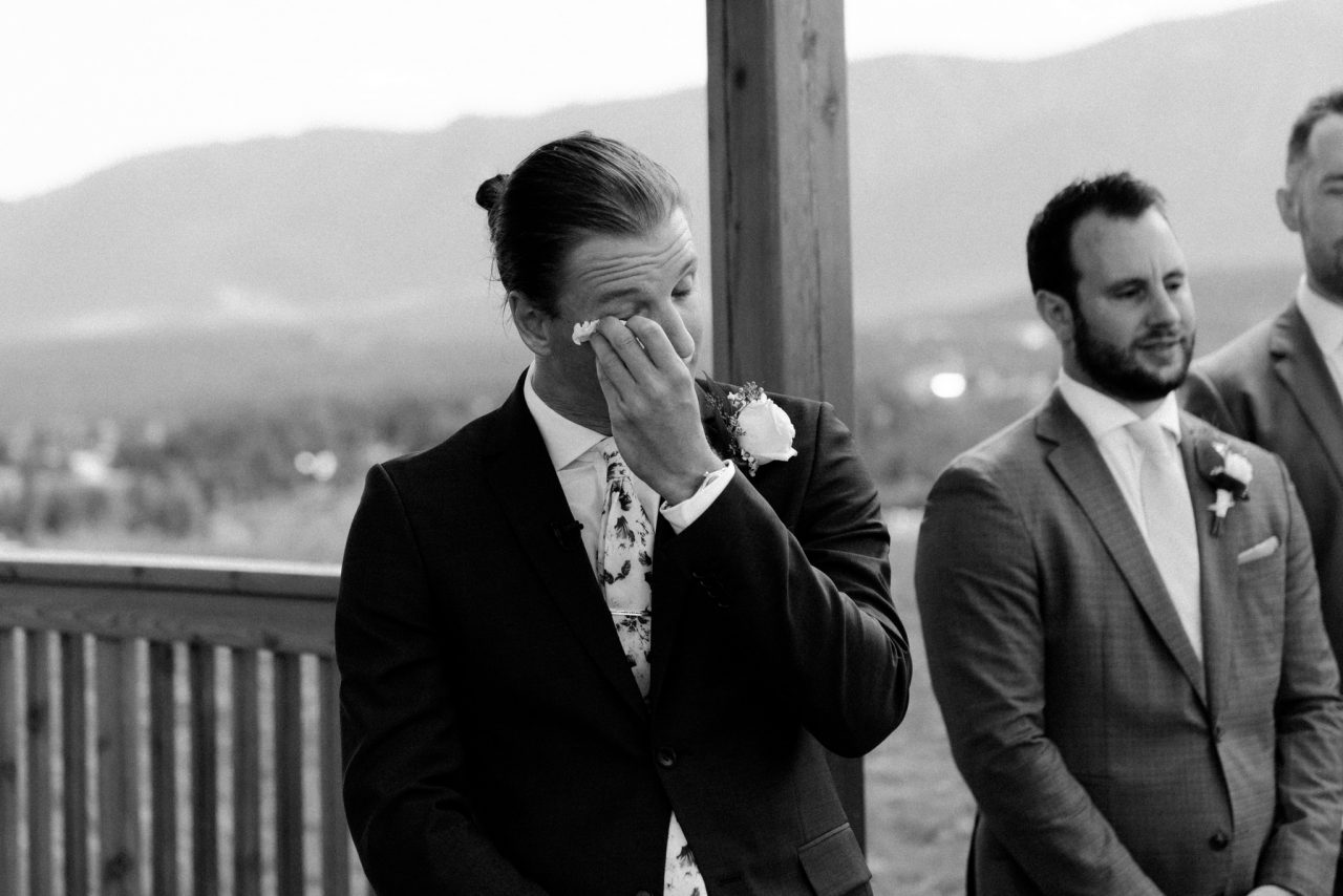invermere wedding groom crying